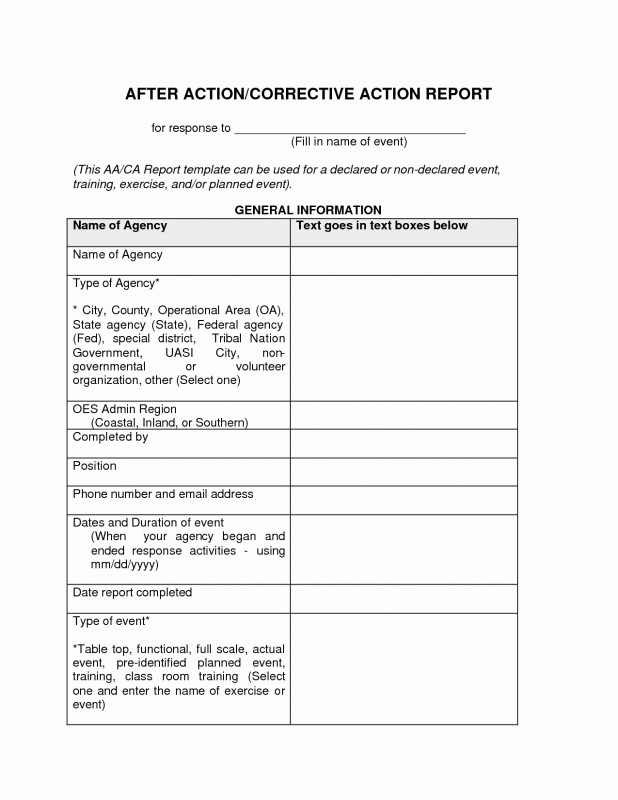 After Event Report Template New 009 Template Ideas Corrective Action Report Form Unforgettable After