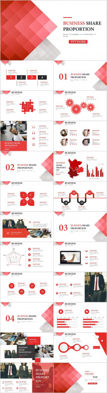 Annual Report Ppt Template New 23 Red Business Share Chart Powerpoint Template Workslide Template
