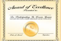 Award Of Excellence Certificate Template Awesome 023 Template Ideas Awards Certificate Of Achievement Stupendous Word