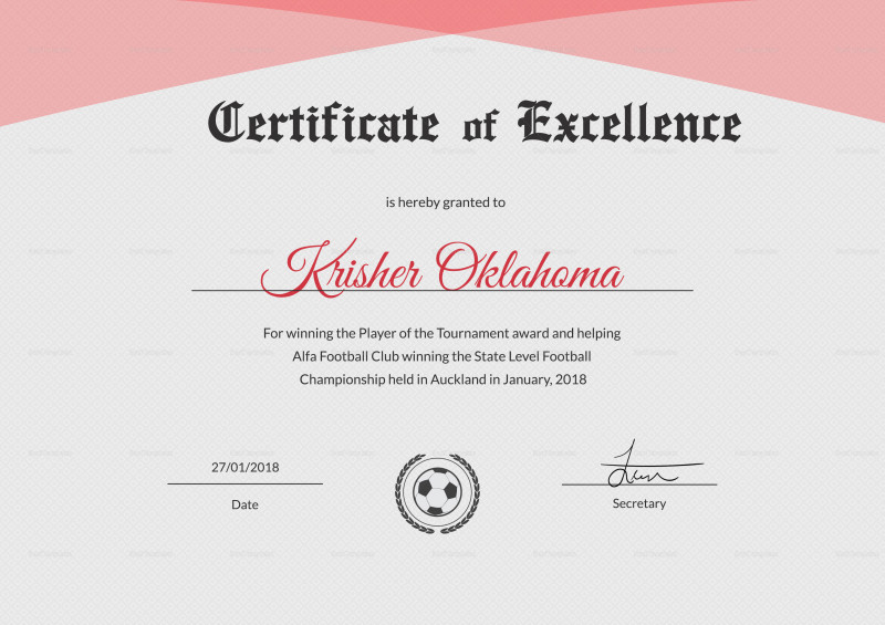 Award Of Excellence Certificate Template Awesome Football Certificate Templates Brochure Free Fantasy Champion