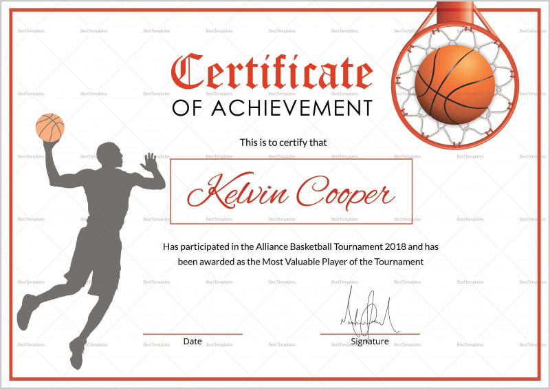 Basketball Certificate Template Unique Athletic Certificate Template Sports Templates For Word Basketball