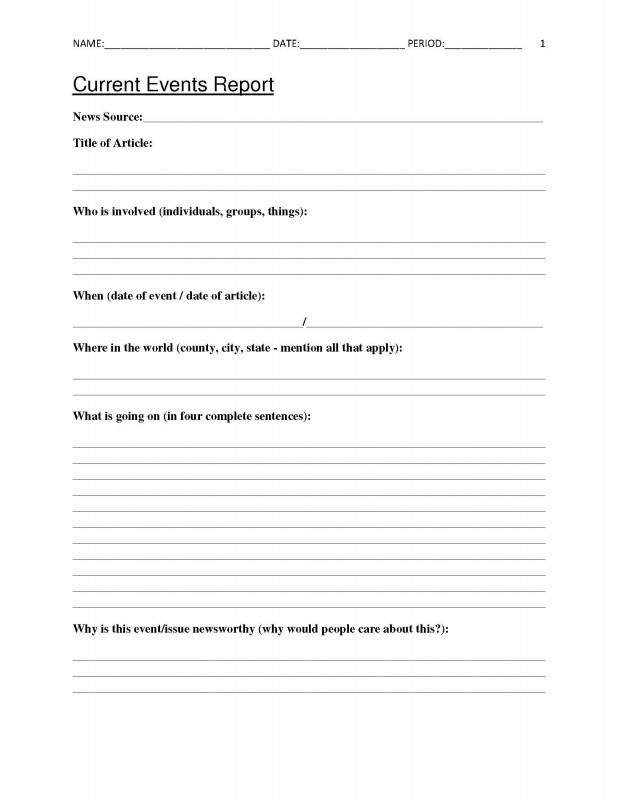 Book Report Template 3rd Grade New Free Current Events Report Worksheet For Classroom Teachers