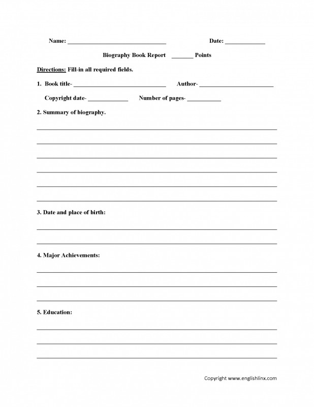Book Report Template 3rd Grade Professional 016 Page 1 Template Ideas Biography Book Awful Report 5th Grade For
