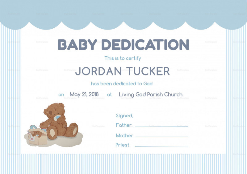 Build A Bear Birth Certificate Template New 010 Baby Dedication Certificate Template Printable Trend Blank Child