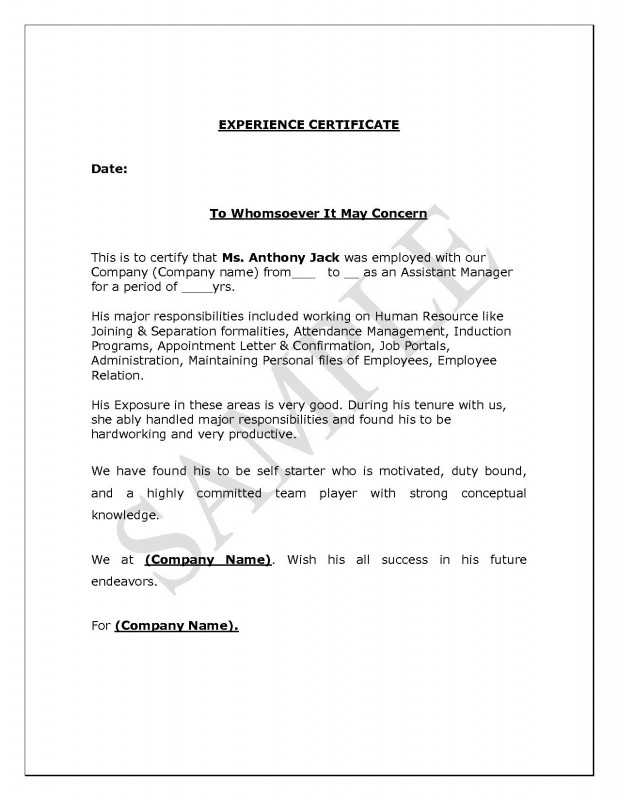 Certificate Of Conformity Template Unique Experience Letter format Supervisor Copy Experience Certificate