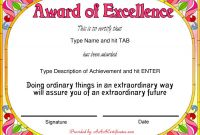 Certificate Of Excellence Template Word Awesome Free Award Certificate Template Word Sazak Mouldings Co