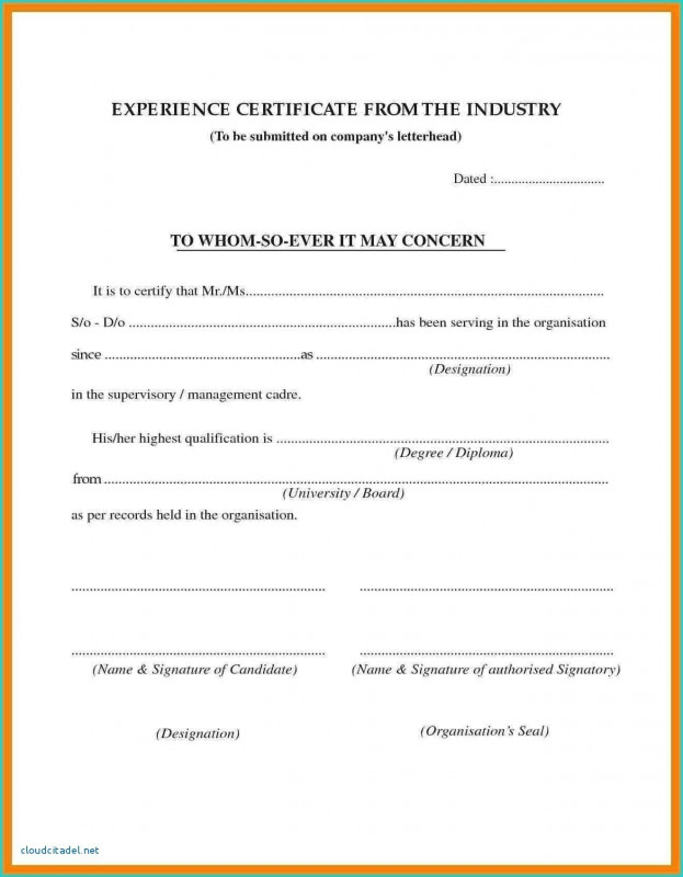 Certificate Of Experience Template New Certificate Sample Doc Ajan Ciceros Co
