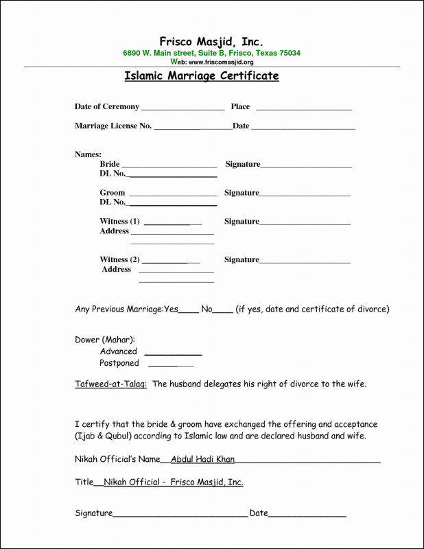Certificate Of Marriage Template Awesome 006 islamic Marriage Certificate Best Of Contract form Contractense