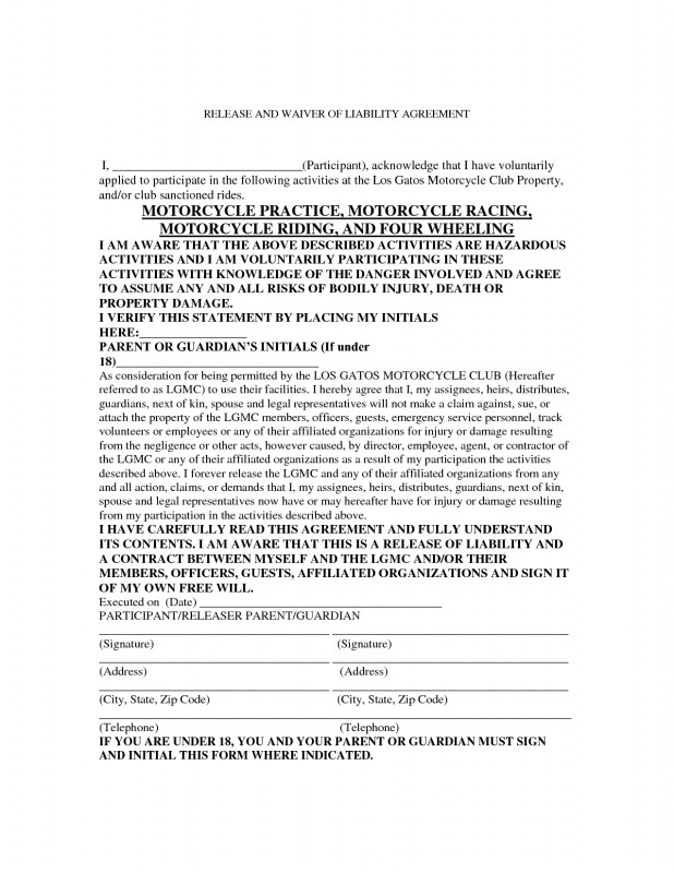 Chemistry Lab Report Template Professional Motorcycle Liability Release form Liability forms Fee Waiver