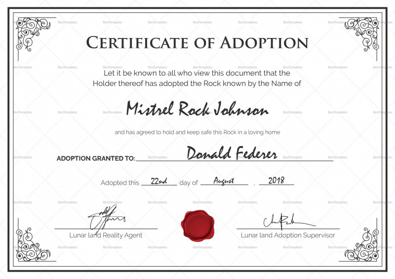 Child Adoption Certificate Template New 006 Adoption Certificate Template Best Birth Design In Psd Word Of