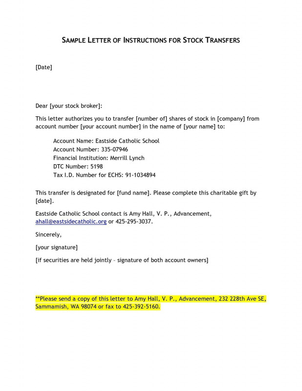 Corporate Share Certificate Template Awesome Letter Of Instruction Template Stock Transfer Collection Letter