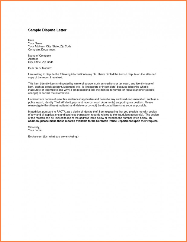 Credit Report Dispute Letter Template Unique Dispute Credit Report Letter Or Late Payments From Sample With Free
