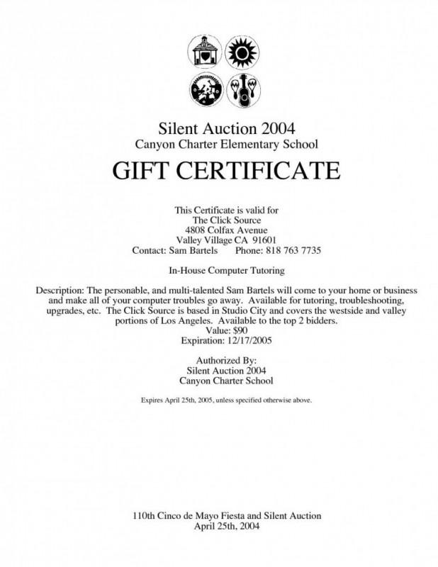 Donation Certificate Template Unique Silent Auction Gift Certificate Template Com And Radiodignidad Org
