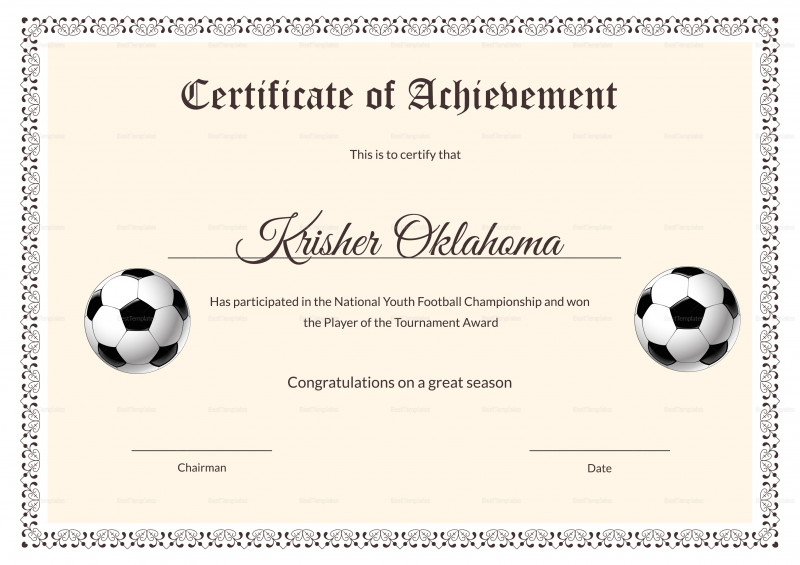 Football Certificate Template Awesome Football Certificate Templates Brochure Free Fantasy Champion