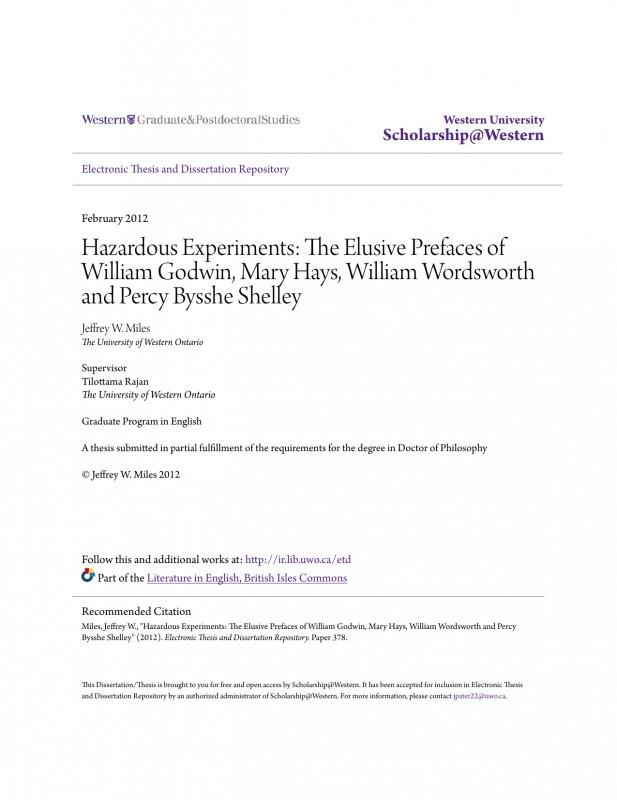 Fracas Report Template Unique The Elusive Prefaces Of William Godwin Mary Hays William