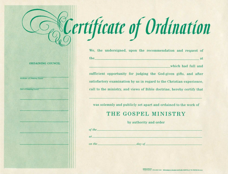 Free Ordination Certificate Template Awesome Elegant Ordained Minister License From Deacon Ordination Certificate