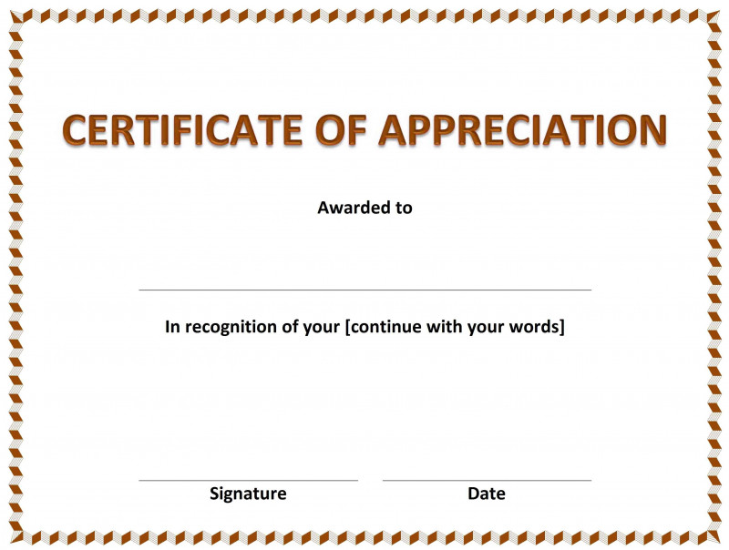 Free Template For Certificate Of Recognition Unique 013 Certificate Of Appreciation Template Ideas Free Templates