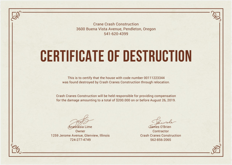 Hard Drive Destruction Certificate Template Unique 011 Template Ideas Certificate Of Frightening Destruction Document