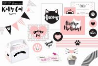 Hello Kitty Banner Template Unique Happy Birthday Cat Banner Luxury Hello Kitty Birthday Invitation