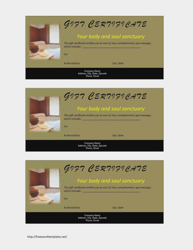 Homemade Gift Certificate Template Unique Free Download 50 Spa Gift Certificate Template Format Free