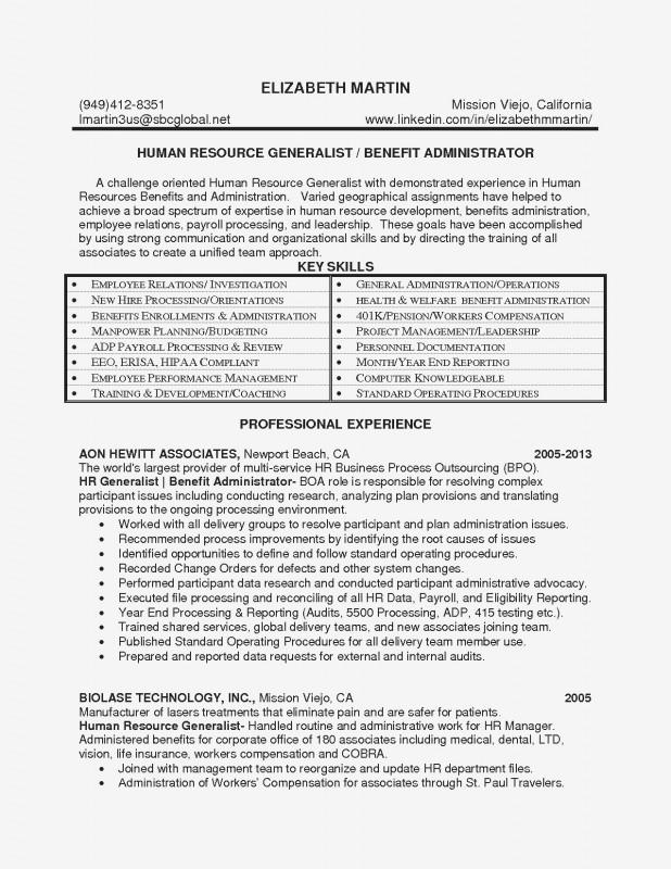 Hr Management Report Template New Human Resources Generalist Resume Sample New Hr Generalist Resume
