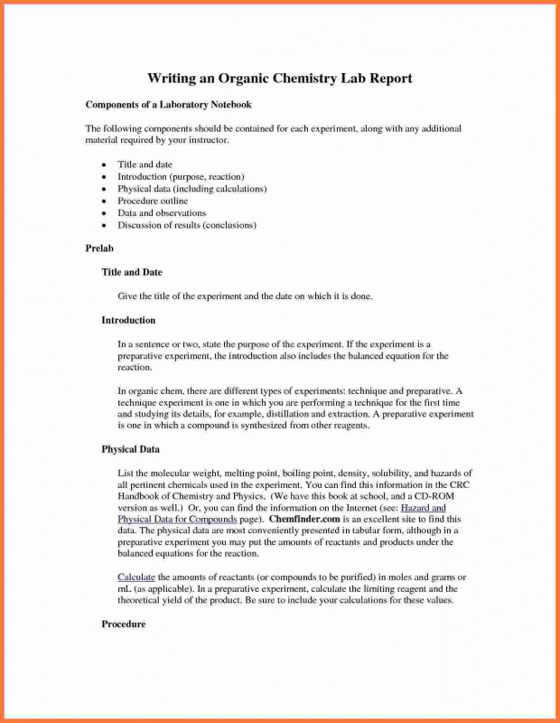 Ib Lab Report Template New organic Chemistry Lab Report Example Glendale Community