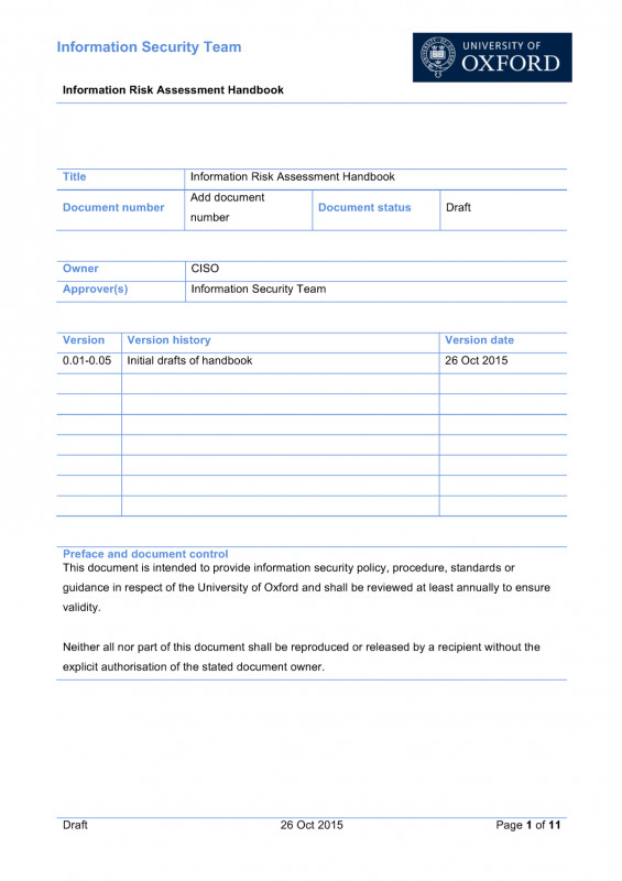 Information Security Report Template New Information Risk Assessment Handbook 0 05 1 Oxford Comp1634
