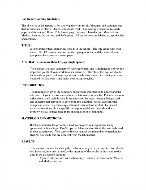 Lab Report Conclusion Template New 020 Research Paper Labreport Annotatedfull Page 03 How To Write