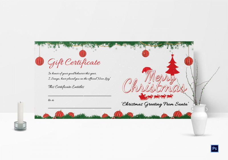 Massage Gift Certificate Template Free Download Awesome 011 Printable Merry Christmas Gift Certificate Template Imposing