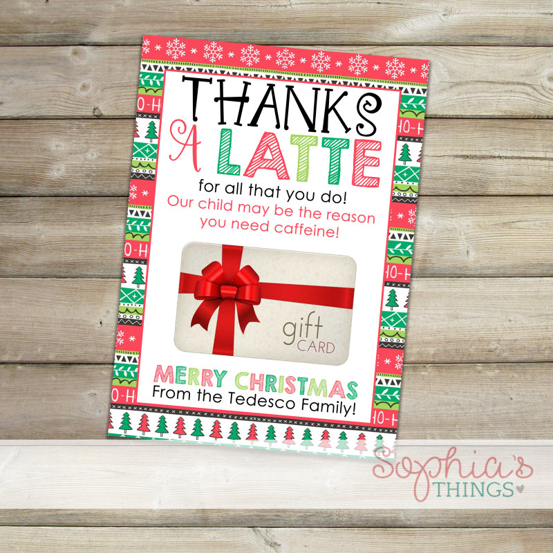 Merry Christmas Gift Certificate Templates New Printable Coffee Gift Card Holder Thanks A Latte Gift Card Etsy