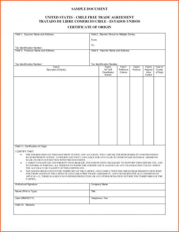 Nafta Certificate Template Unique Blank Certificate Of Origin Template Nadi Palmex Co