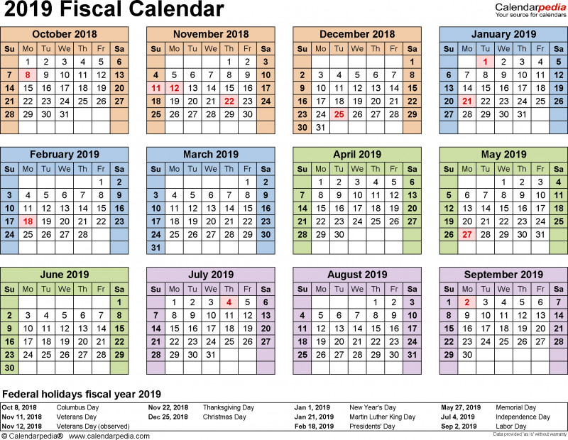 Non Profit Monthly Financial Report Template Professional Fiscal Calendars 2019 As Free Printable Word Templates