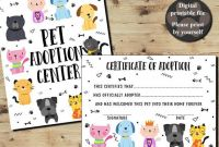Pet Adoption Certificate Template Unique Pet Adoption Certificate Certificate Of Adoption Adopt A Etsy