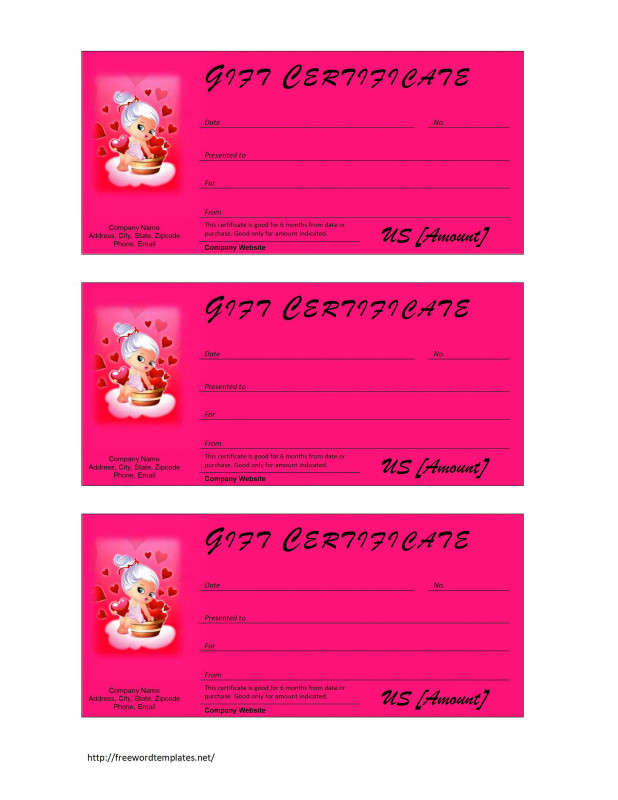 Pink Gift Certificate Template Awesome Valentine Gift Certificate Template Word Certificatetemplateword Com
