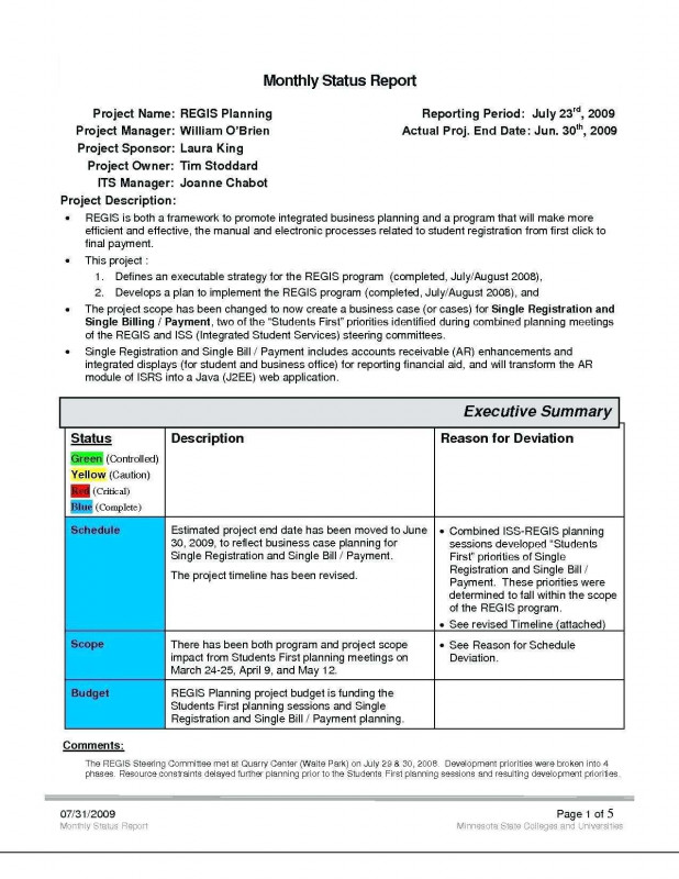 Project Manager Status Report Template Professional Project Management Audit Report Template Daily Status Free Apps