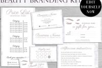 Salon Gift Certificate Template New Lash Branding Kit Lash Logo Salon Templates Beauty Price Etsy