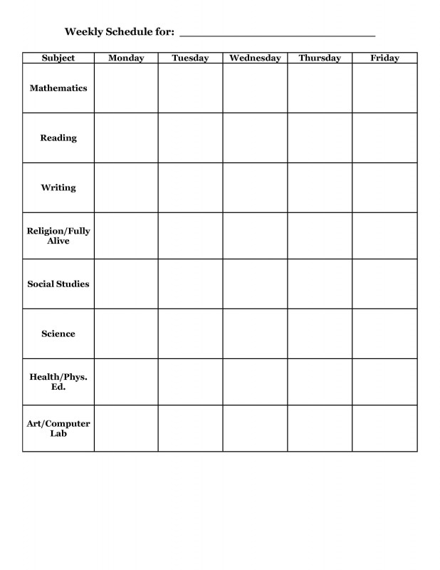 School Progress Report Template New Student Planner Templates Weekly Schedule Template For Elementary
