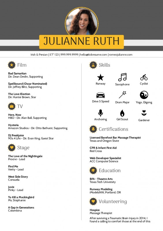 Star Of The Week Certificate Template Awesome Resume Examples By Real People Acting Resume Template Kickresume
