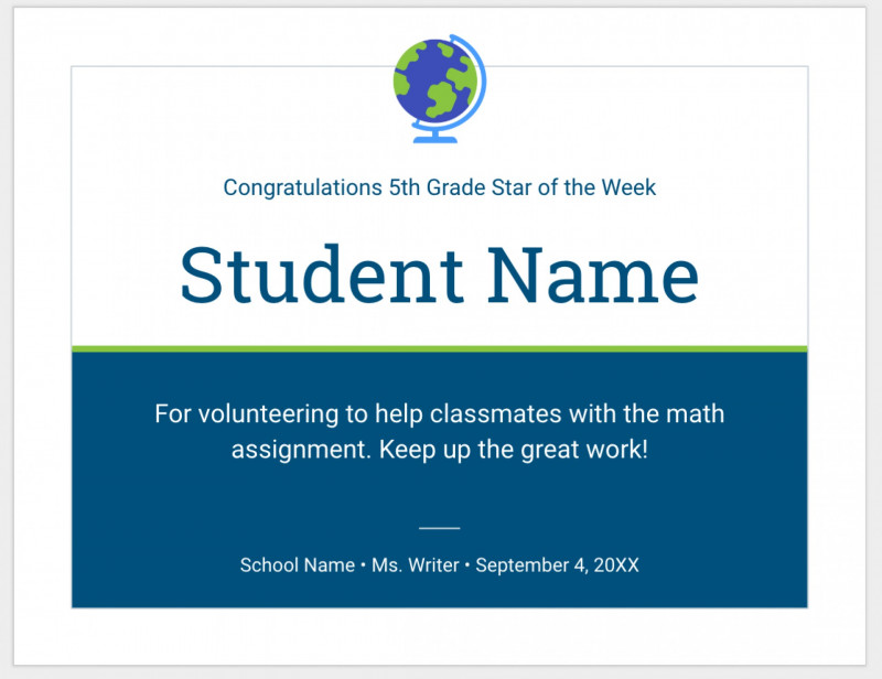 Star Of The Week Certificate Template New 002 Template Ideaste Templates Google Docs Fresh Doc Design And Of