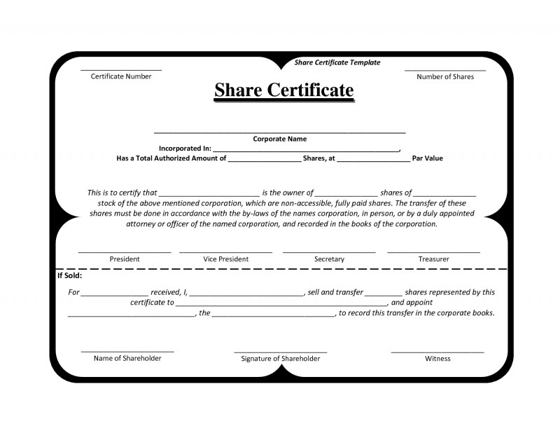 Stock Certificate Template Word Unique Stock Certificate Template Best Collection For Share Free
