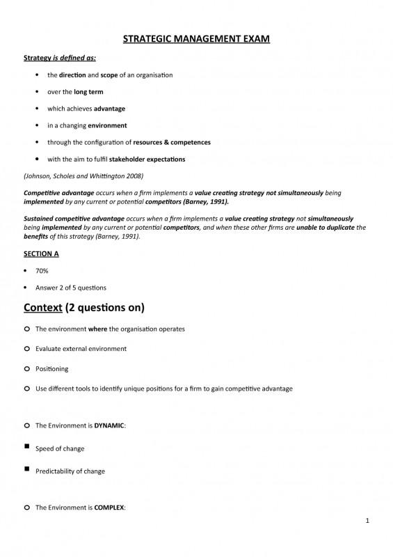 Strategic Management Report Template Professional Strategic Management Notes Lecture Notes Lectures 1 20