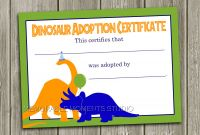 Toy Adoption Certificate Template Unique Instant Download Dinosaur Adoption Certificate Memorable Etsy