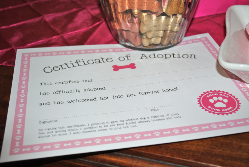 Toy Adoption Certificate Template Unique My Parties Dog Adoption Party Free Printable From Chickabug