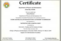 Workshop Certificate Template Awesome Computer Course Completion Certificate Sample Computer Basic Course