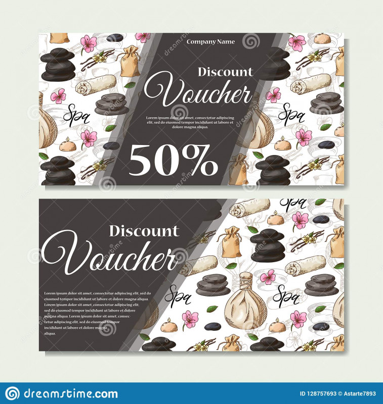 Yoga Gift Certificate Template Free Unique Gift Voucher Template With Spa Elements In Hand Drawn Style Sketch