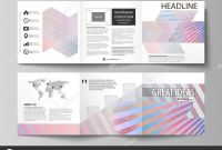 Brochure Folding Templates New Set Of Business Templates for Tri Fold Square Brochures Leaflet