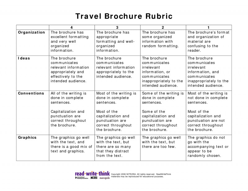 Brochure Rubric Template New 010 Travel Brochure Template For Students Shocking Ideas Pdf