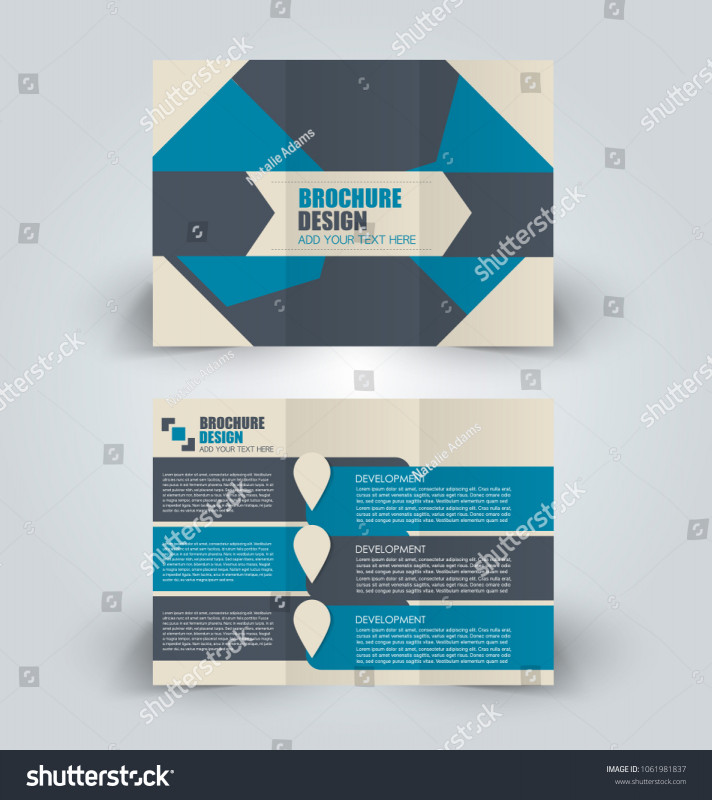Double Sided Tri Fold Brochure Template Awesome Brochure Template Business Trifold Flyer Creative Stock Vector