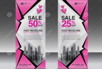 Pop Up Brochure Template Awesome Pink Roll Up Banner Template Vector Advertisement X Banner Poster