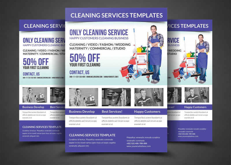 Pop Up Brochure Template Best Cleaning Services Flyer Template Flyer Templates Creative Market